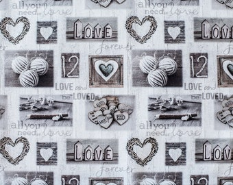 Cotton fabric, hearts in sepia-patchwork fabric-romantic fabric-hearts fabric-vintage fabric