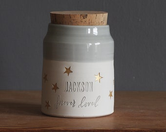 Custom urn for human ashes or use as pet urn. Modern pottery memorial urn. porcelain with dove grey glaze + gold wrap around accent star