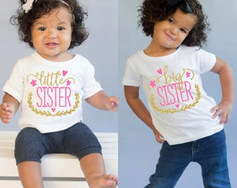 Matching Sibling Shirts - Sister T Shirts - Big Sister Little Sister - Sibling Outfits - Pregnancy Announcement - New Baby Gift