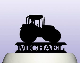 Personalised Acrylic Farm Tractor Cake Topper