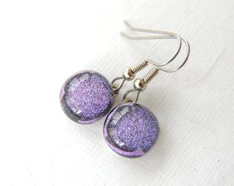 Lavender Purple Dichroic Fused Glass Earrings, Purple Glass Earrings, Lightweight Dangle Earrings, Dichroic Glass, Gift Idea. Item129