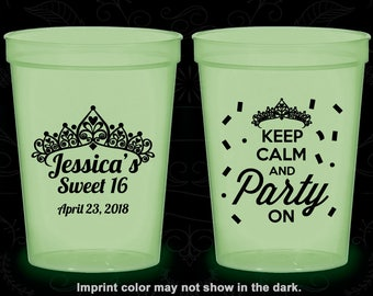 16th Birthday Glow in the Dark Cups, Sweet 16 Party, Keep Calm and Party on, Glow Birthday Party (20140)