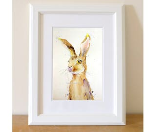 Hare Print of my Original Watercolour Be prepared hare Painting by Nancy Antoni A4 A3