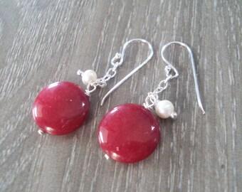 Red Earrings,Pearl earrings,Sterling silver earrings,Stone earrings
