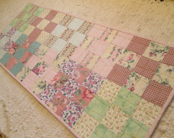 Quilted Spring Shabby Chic Cottage Chic Rustic Primitive Country Americana Farmhouse Patchwork Table Runner