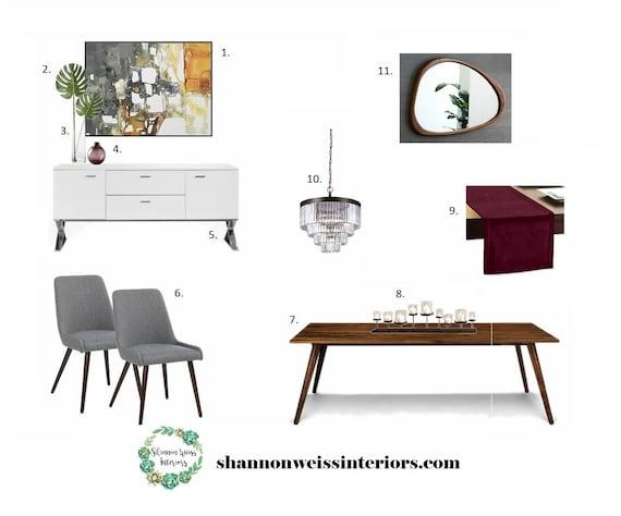 Dining room e design affordable interior design services for Cheap interior design services