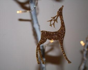 Sparking Reindeer, gold tree decorations, Sparkling decoration, gold deer decoration, deer tree ornament, gold decoration, gold reindeer,