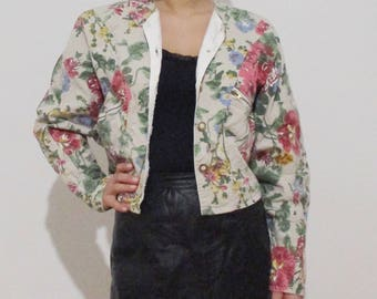 Women's jacket with flowers Vintage floral Boho Hippie