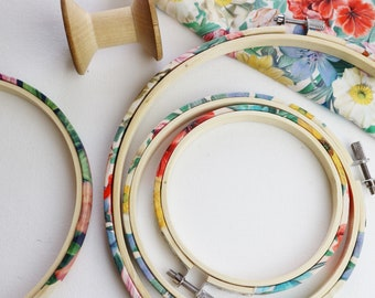 Spring Florals, Liberty of London, Fabric Covered Embroidery Hoop. Coloured Embroidery hoop. Tana Lawn, Meadow Melody. Liberty SS18