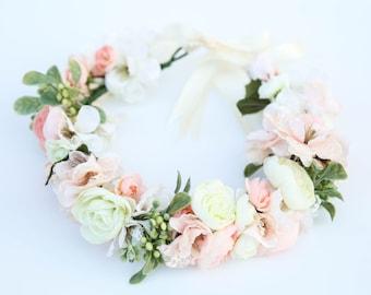 Pastel flower crown,Flower headband, headband, wedding flower crown, bridal flower crown, bohemian flower crown,dainty floral crown
