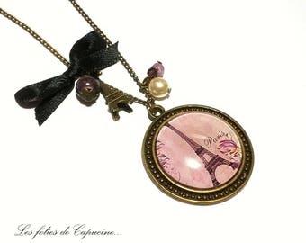 Necklace •TOUR EIFFEL• glass Cabochon necklace