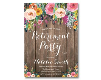 Retirement Party Invitation. Retirement Invitation. Watercolor Floral Flower. Rustic. Surprise Party. Holiday Invitation. Printable Digital
