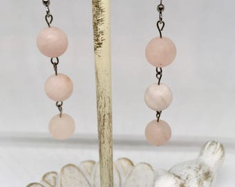 Rose Quartz Earrings/ Handmade Earrings