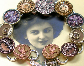 "Antique BUTTERFLY BUTTON bracelet, Victorian insect & flowers, 7.5"" button jewellery."