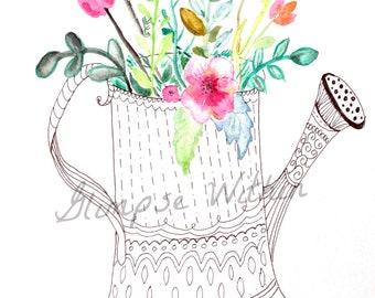 Flower Watering can in watercolor