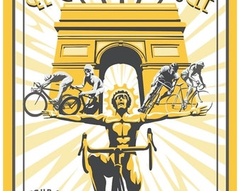 Retro styled Tour de France cycling poster, print, illustration 11x17""