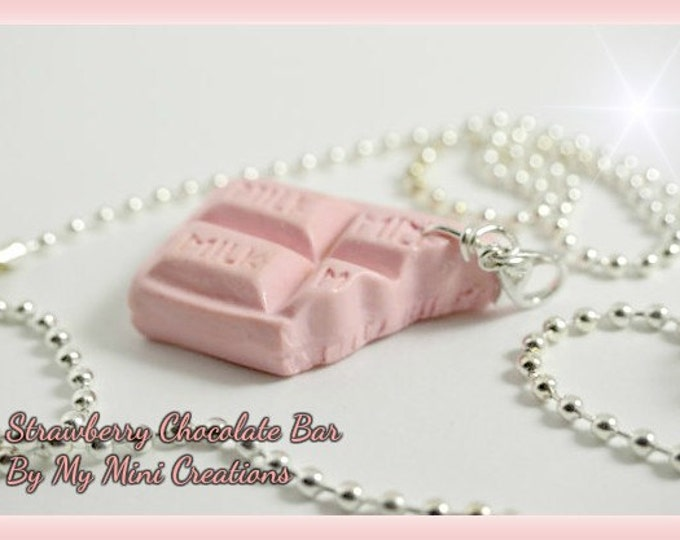 Strawberry Chocolate Bar Charm Necklace, Polymer Clay,  Miniature Food, Miniature Food Jewelry