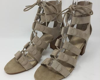 Marc Fisher Sandals Lace Up Suede Block Heel Womens Paradox Sand Sz 7M