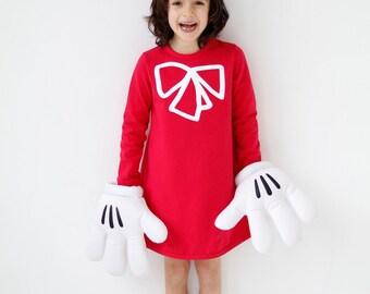 Girls dress red organic cotton
