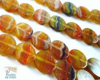 12 pucks 8x3mm (ptch98) Hurricane Picasso Czech glass beads