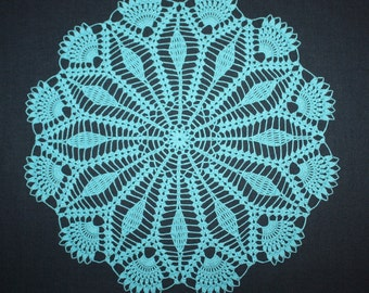 Blue Crochet Doily, Lace Round Doily, Blue Flower Doily, Dresser Doily, Crochet Placemat Cotton Doily, Table Topper, 14 inches