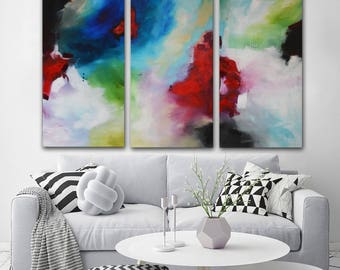 Blue fuchsia painting on canvas, lime green abstract, ready to hang, Red modern art painting, large lobby office decor, original modern art