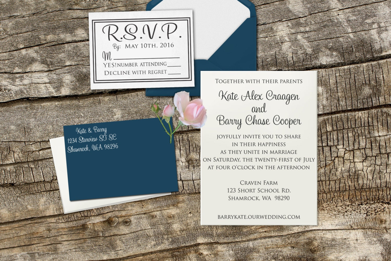 Diy Wedding Invitation Rubber Stamp Set With Invitation Rsvp