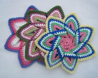 Crochet Pot Holders / Heat Mat Flower or Tunisian Crochet Circle 100% Cotton Eco Friendly