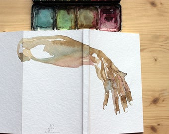 Sketchbook with body design, hand painted notebook