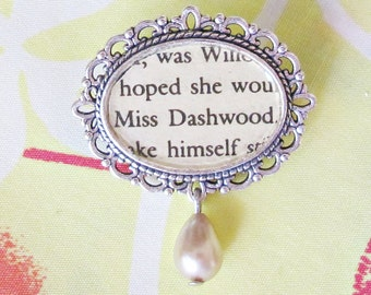 Jane Austen Brooch Pin Accessories - Bridal Cameo Bouquet Sense and Sensibility Miss Dashwood - Vintage Glass Pearl Cream Bookworm Gift Her