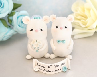 Unique wedding cake toppers Mice - cute funny elegant bride and groom figurines animal white aqua blue barn farm country rustic wedding