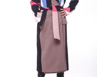 Colorful Coat / Paradox / Long Winter Coat / Maxi Sweater Coat / Oversize Coat / Wool Loose Coat / Evening Coat PC0191