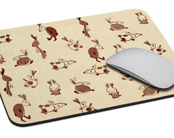 Rabbits (beige) - Mouse Pad - Soft Fabric Top - Heavy duty natural rubber backing - Custom made