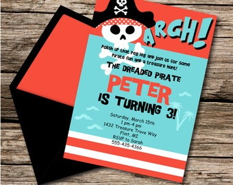INSTANT DOWNLOAD, Pirate Birthday, 5 x 7 Printable Invitation, You Edit Yourself in Adobe Reader