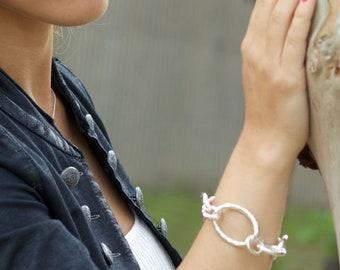 Silver links bracelet, BOULDER bracelet-Handmade