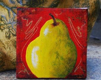 Pear original painting art red green