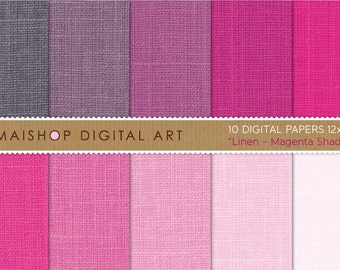 Digital Paper Linen 'Magenta Shades' Hot Pink, Thulian Pink, Mountbatten Pink... Textured Papers for Invites, Cards...