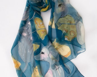 Hand painted silk chiffon scarf- Mouses dreams/ Large Silk Chiffon scarf/ Animal scarves/ Fantasy scarf, Silk painting, gift for her/ KDA17