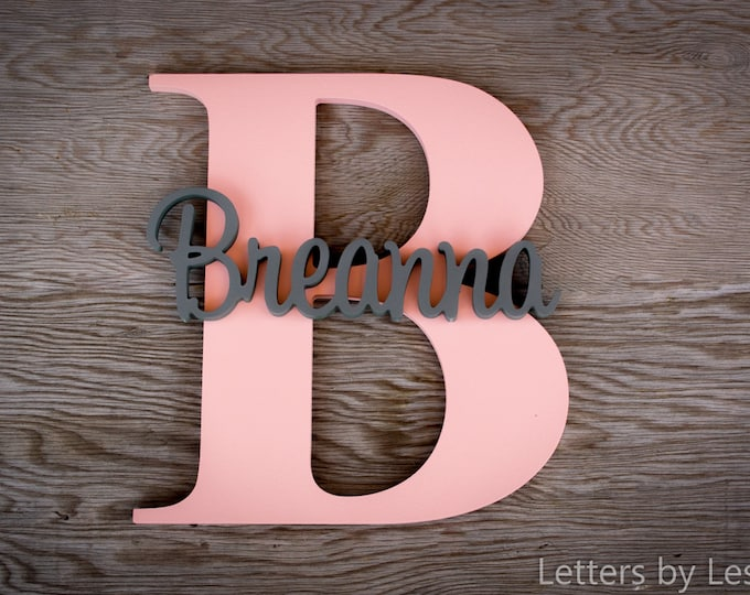 Large - Capital Letter with Name - Custom Nursery Decor - Personalized name on Large Letter