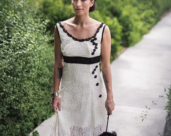 White and black lace wedding dress