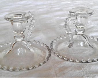 """Vintage Pair of Candlewick Footed """"Chamber"""" Candlestick Holders By Imperial Glass Company"""
