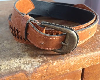 Braided vintage brown leather concho belt