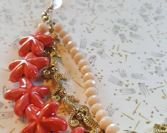 Beachy Keen Multi-strand Necklace, Starfish, Seahorses, Whimsical, Beaded Necklace