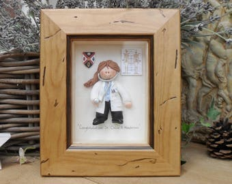 PERSONALISED DOCTOR GIFT, Surgeon, Female Framed Polymer Clay Characters,  Retirement, Promotion, Birthdays M or F