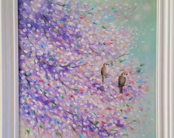 Spring songs - Original. Oil on canvas - Fine ENERGY ART by Ingrida - best gift - home interior - wall decor
