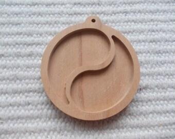 1 p unfinished wooden 45 mm jin-jang pendant base with loop,yin-yang pendant tray,yin yang,wooden jin-jang pendant setting,wooden yin-yang