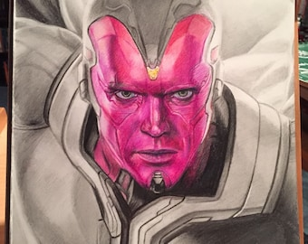 CLEARANCE SALE!! Original Drawing of Paul Bettany as Vision in Avengers: Age of Ultron (NOT a print)