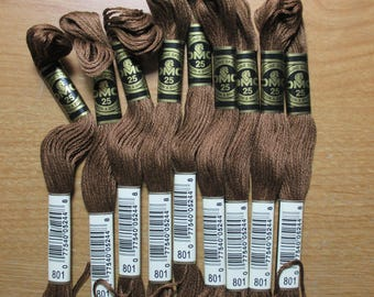 Lot of 5 Skeins DMC Floss # 801