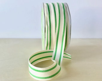 "5 Yards Cotton Ribbon Green Stripe French Style Celery Green 5/8"" Natural Cotton Twill Tape"