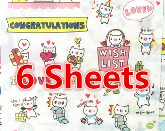 6 Sheets, Cute kitty Sticker, Deco Sticker, Korean Sticker, Cute Sticker, Scrapbook, Pig Sticker, Piggy Sticker